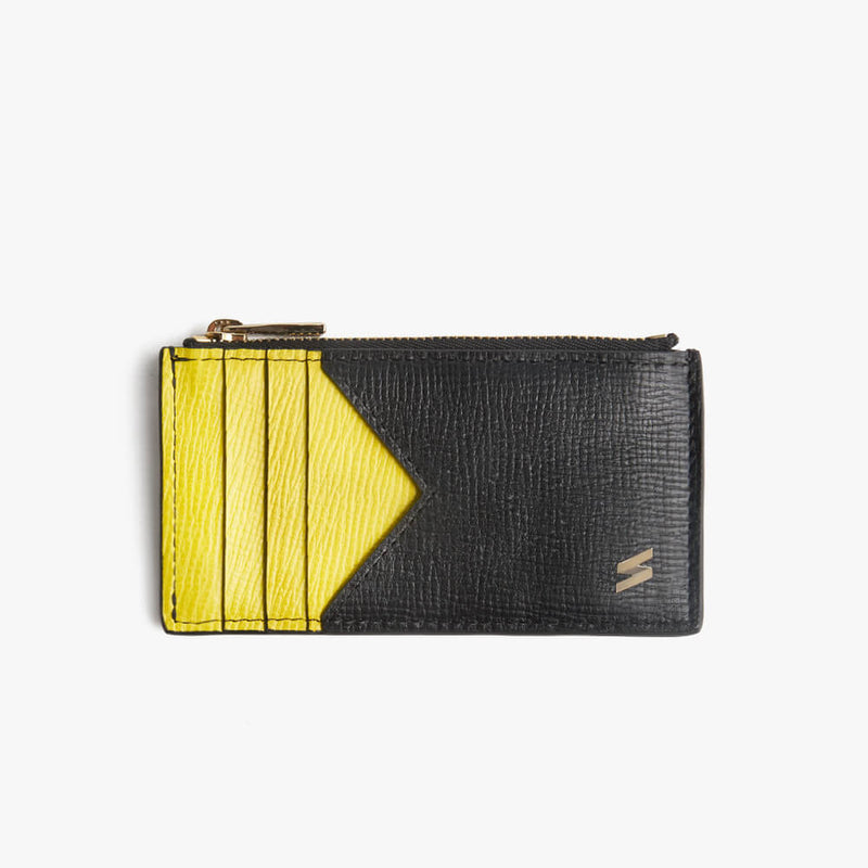 Zipped Card Holder Corteccia Black&Yellow