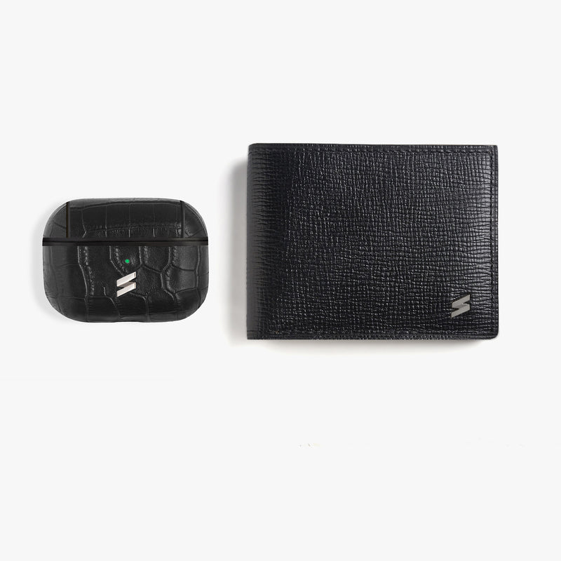 Gift Pack Airpods + Wallet Corteccia Black