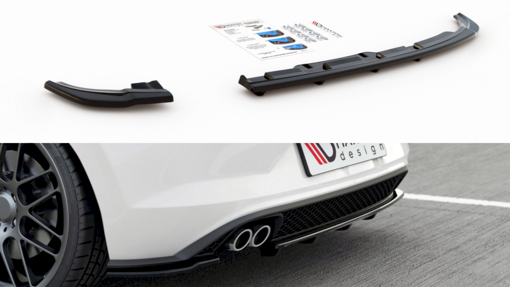 CENTRAL REAR SPLITTER (W/ VERTICAL BARS) VW POLO MK6 GTI (2017-)