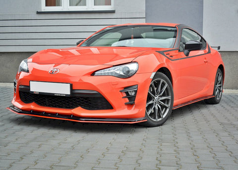 FRONT SPLITTER (BLACK & RED) V.4 TOYOTA GT86 FACELIFT 2017-UP - Car Enhancements UK