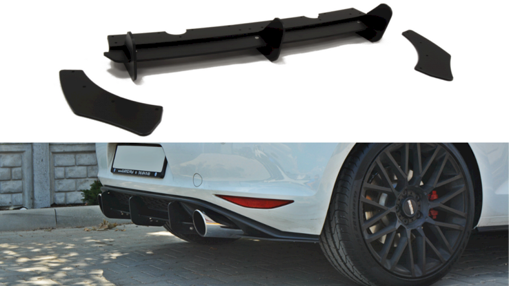 Rear Diffuser & Rear Side Splitters VW GOLF MK7 Pre Facelift GTI - Car Enhancements UK
