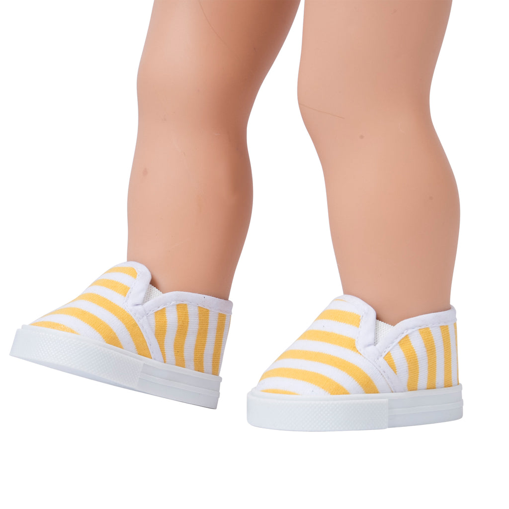 Striped Canvas Sneakers - Yellow