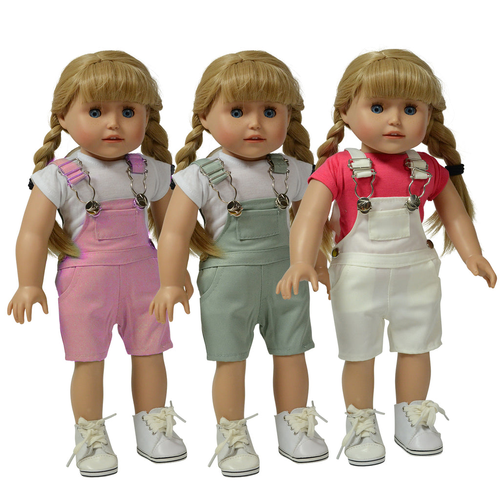 set of 3 Twill Overalls