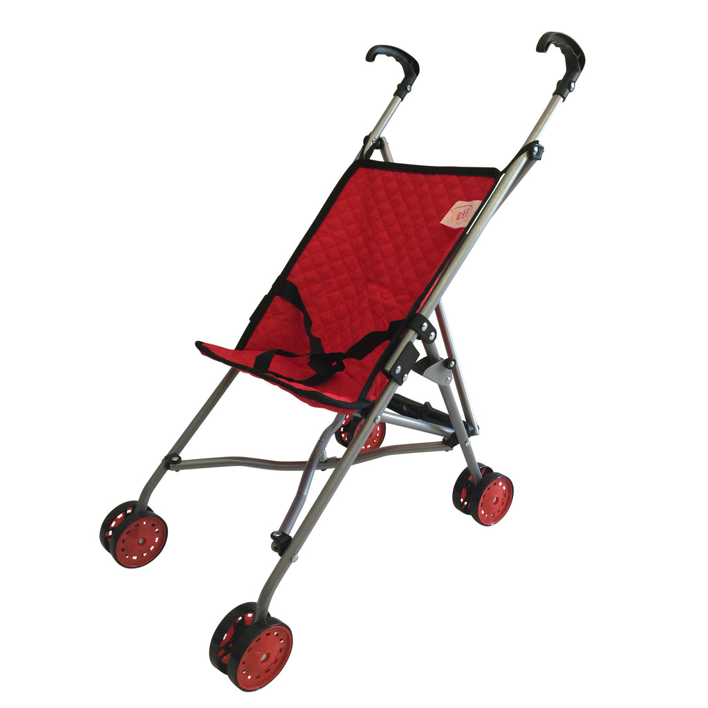 Single Doll Travel Stroller Red Quilted