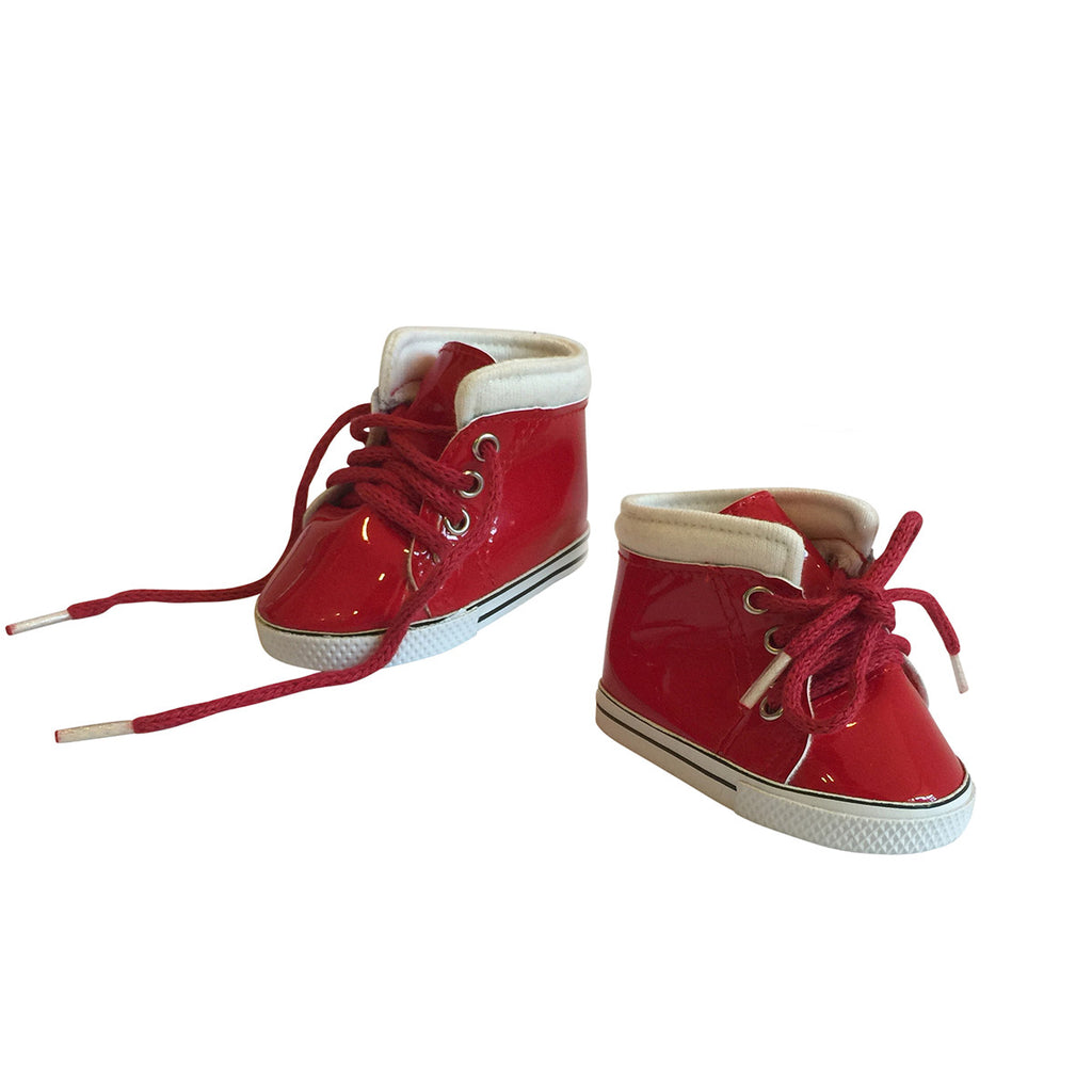 Shiny Leather Sneakers – Red