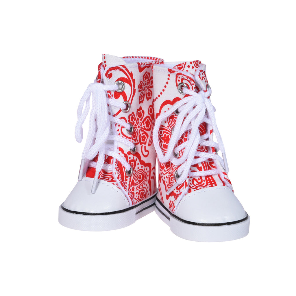 Printed Hightops Sneakers – Red
