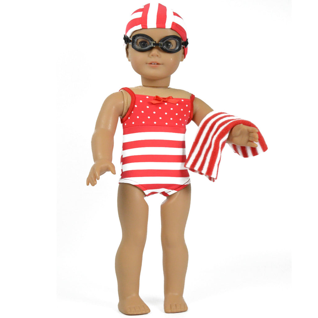 Red Striped Swim Suit  Includes Bathing Cap and Goggles and Towel