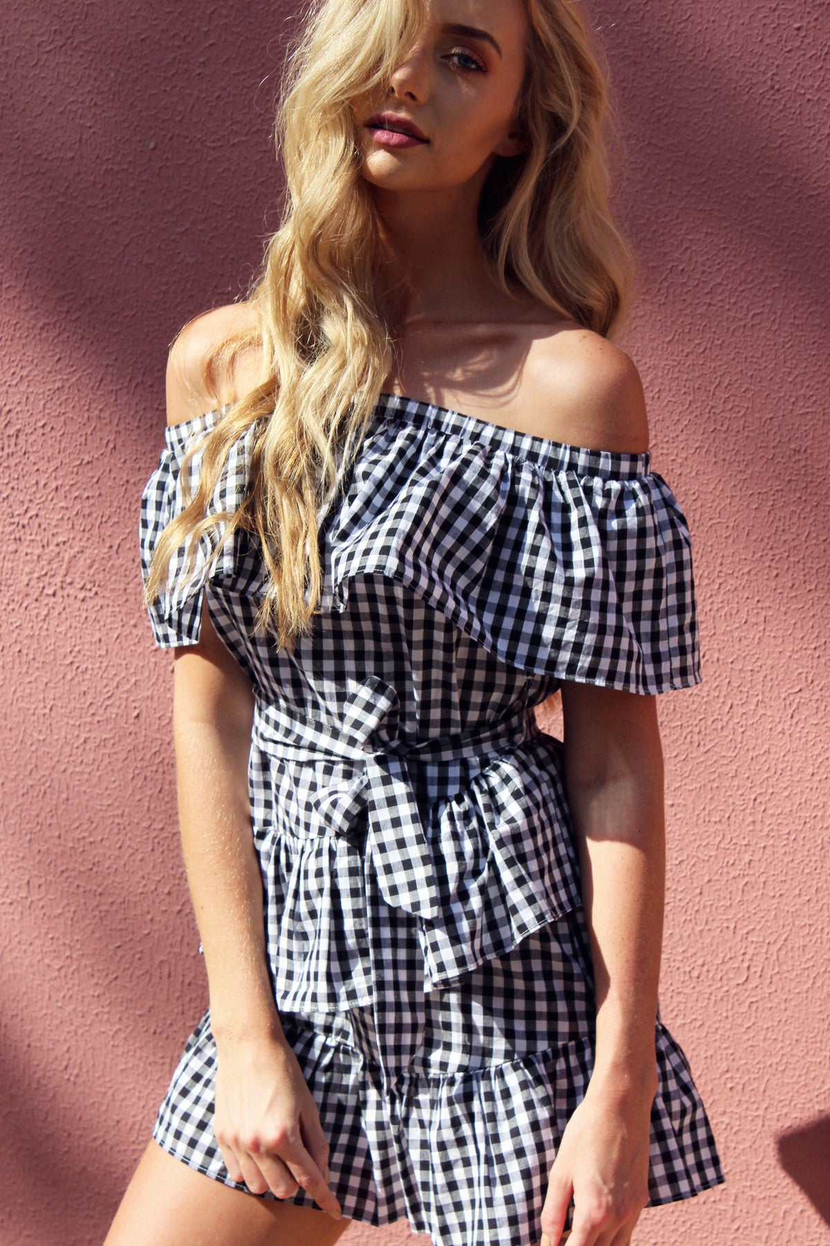 THE GINGHAM BARDOT DRESS - You.