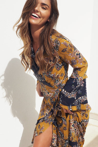 THE SAFFRON MAXI WRAP DRESS - You.