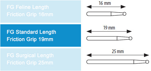 Dental Bur Lindemann 162 19mm FG (standard length) 5 pack