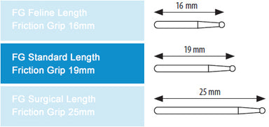 Dental Bur Taper Fissure 172L 19mm FG (standard length) 5 pack