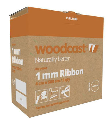 Woodcast 1mm Ribbon, 4cm x 5m, 2pcs