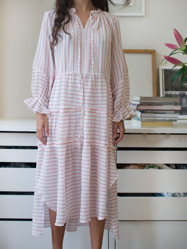 BILLIE CANDY STRIPE TIERED DRESS
