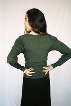 Load image into Gallery viewer, GIANNA RIBBED MERINO KHAKI CARDIGAN