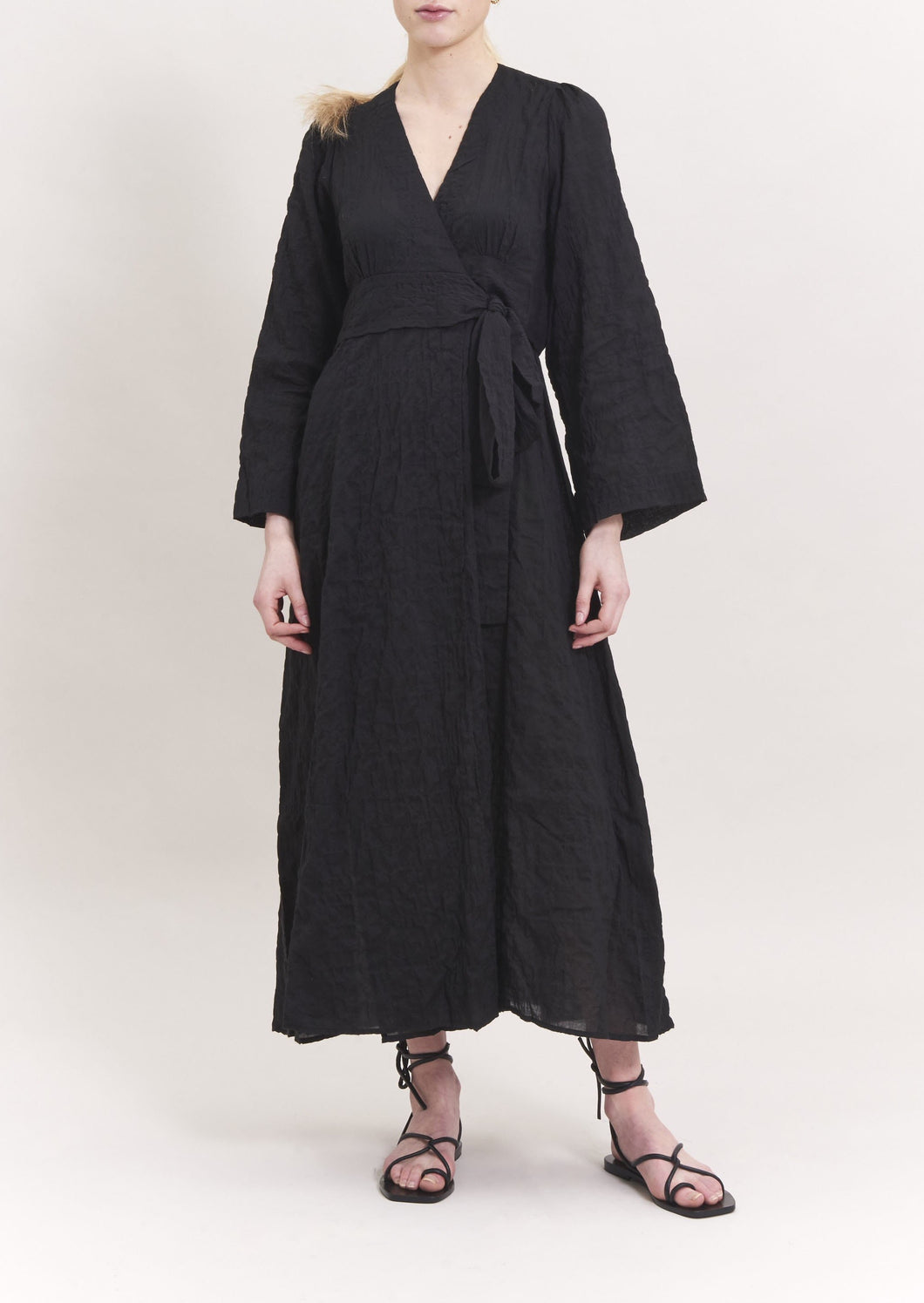RIVA CRINKLE COTTON WRAP DRESS