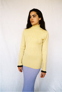 BLAIR YELLOW RIBBED MERINO TURTLE NECK SWEATER