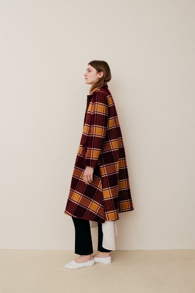 Lewis Princess Length Coat - Caramel Check