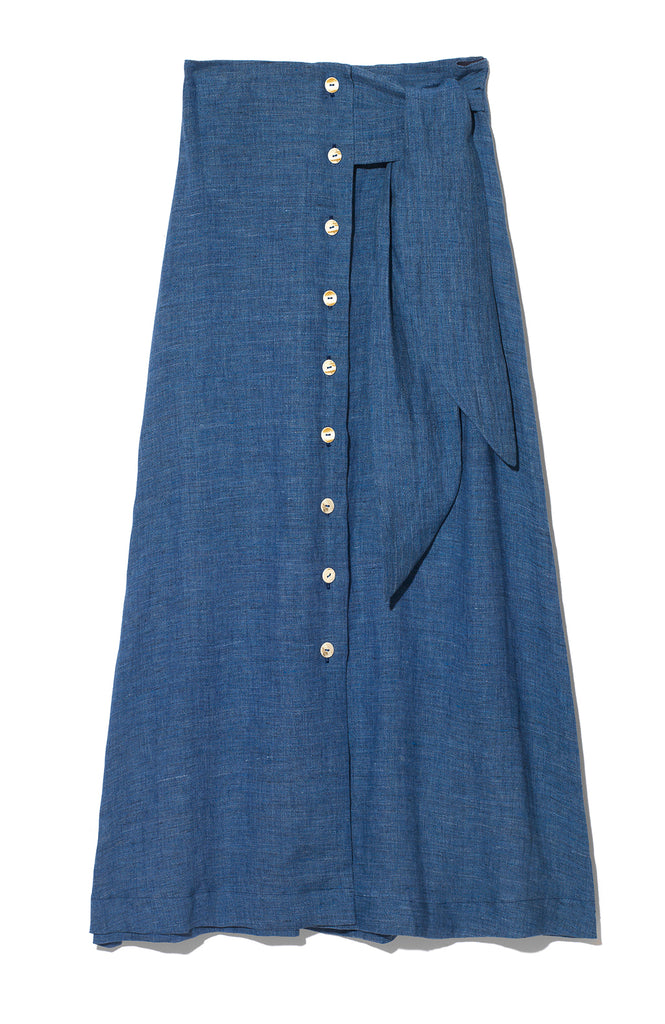 ELIZA BUTTON AND TIE LINEN SKIRT