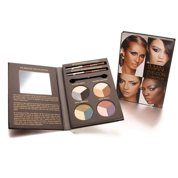 Palette de Maquillage Eye-Con Kit: 4 trios de couleurs intenses et longue tenue, riches en pigment pour un regard sublimé.