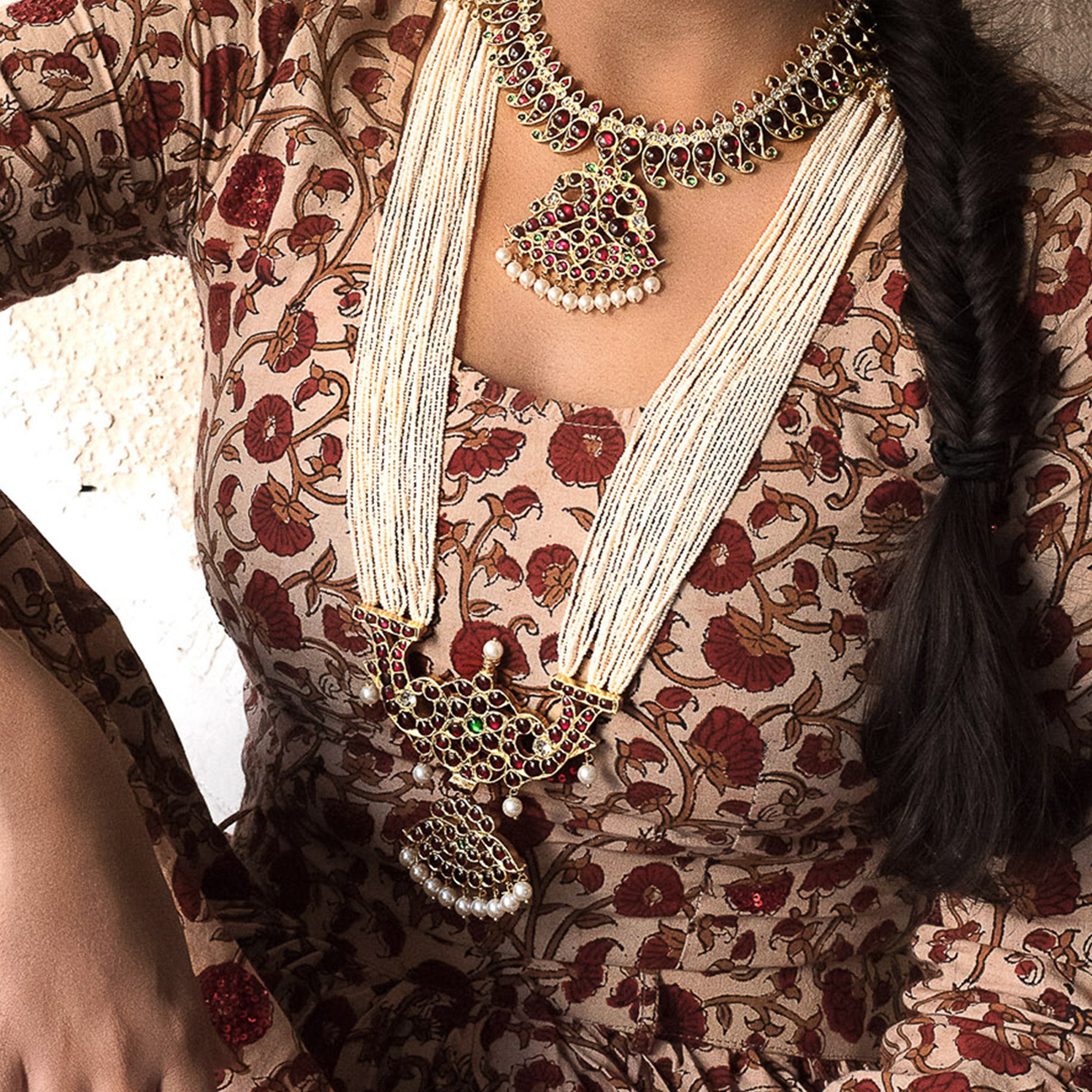 Customary Long Malai Necklace [silver jewellery] [temple jewellery] - Aaharya