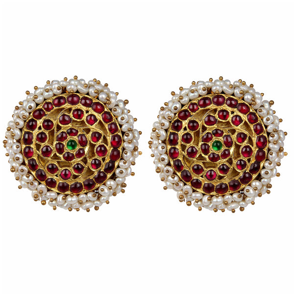 Pearl Cluster Studs [silver jewellery] [temple jewellery] - Aaharya