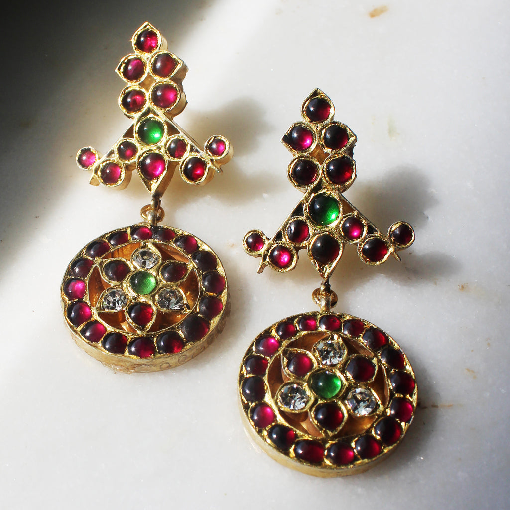 Fire Temple Drops [silver jewellery] [temple jewellery] - Aaharya
