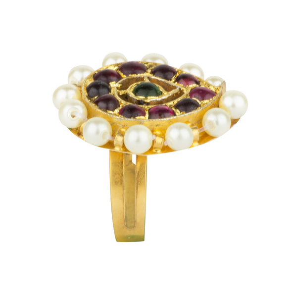 Flower Motif Statement Ring [silver jewellery] [temple jewellery] - Aaharya