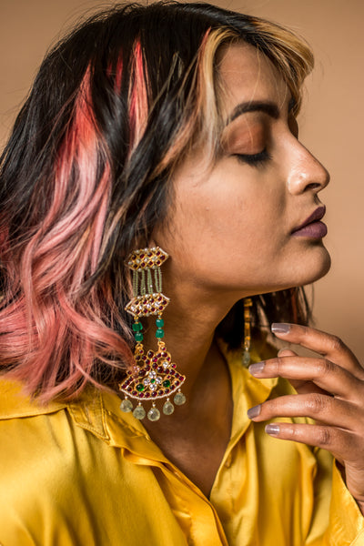 Kimana Long Earrings [silver jewellery] [temple jewellery] - Aaharya