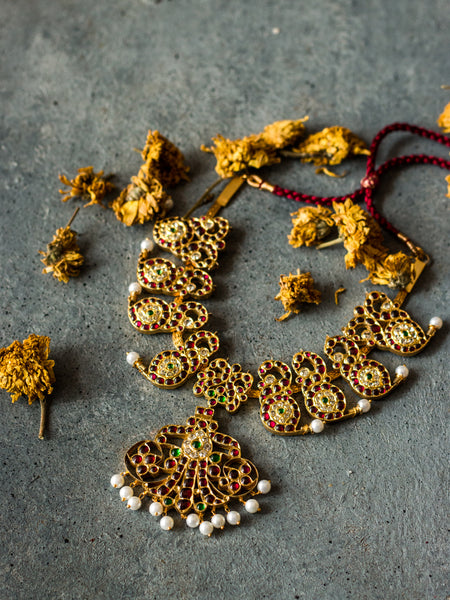 Aamani Necklace [silver jewellery] [temple jewellery] - Aaharya