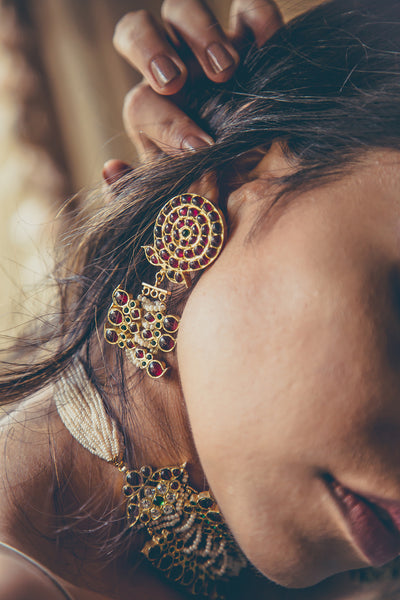 Ahilya Earrings [silver jewellery] [temple jewellery] - Aaharya