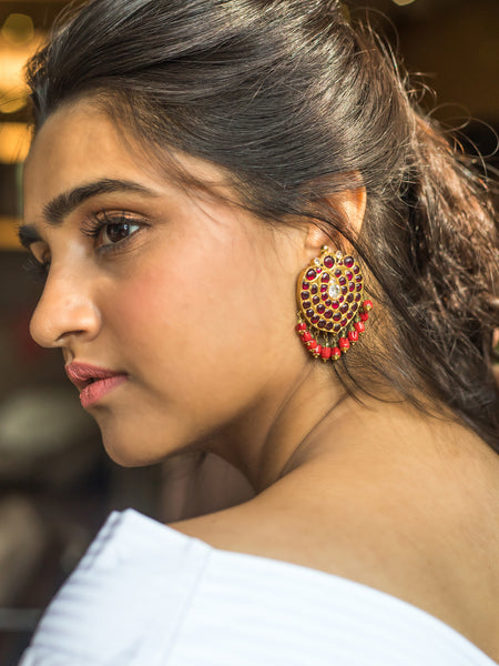 Chithira Earrings [silver jewellery] [temple jewellery] - Aaharya