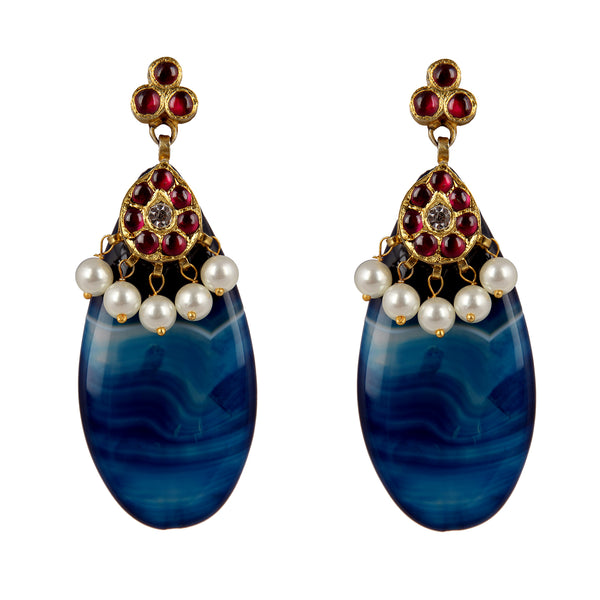 Navy Blue Temple Jewellery Earings