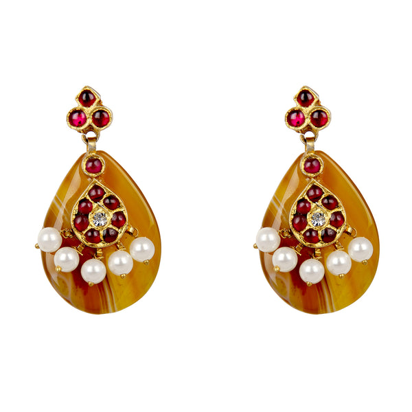 Mustard Temple Jewellery Earings