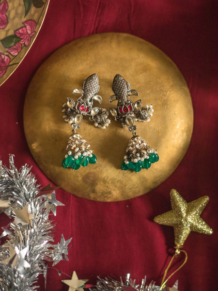 Matsya Earrings [silver jewellery] [temple jewellery] - Aaharya