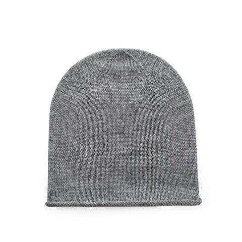 Sand and Salt Johnstons of Elgin Cashmere Beanie Hat - Light Grey Marl