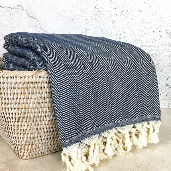 Herringbone Cotton Turkish Throw Blanket in Indigo Blue from Sand and Salt.