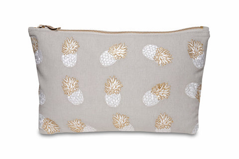 Elizabeth Scarlett Ananas Travel Pouch in Cloud Grey with pineapple embroidery