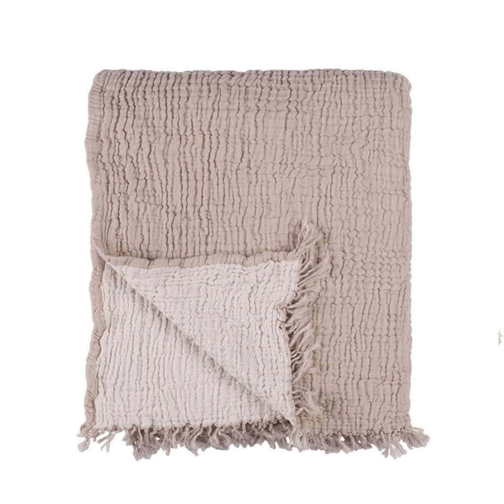 Textured Cotton Throw - Warm Sand