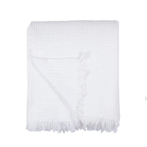 Textured Cotton Throw - Chalk White