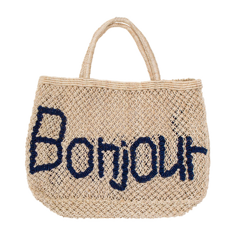 The Jacksons Bonjour Jute Tote Bag - Natural with Indigo