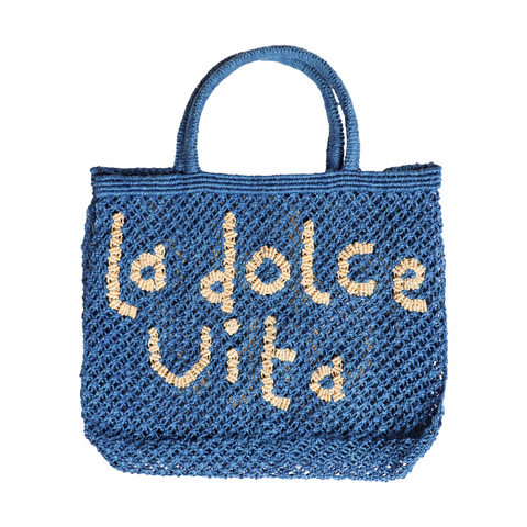 The Jacksons La Dolce Vita Jute Tote Bag - Cobalt with Natural