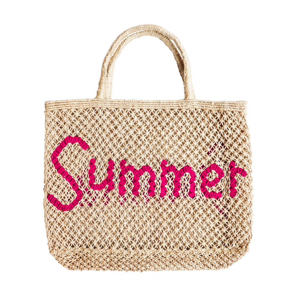 The Jacksons Summer Jute Tote Bag - Natural with Pink