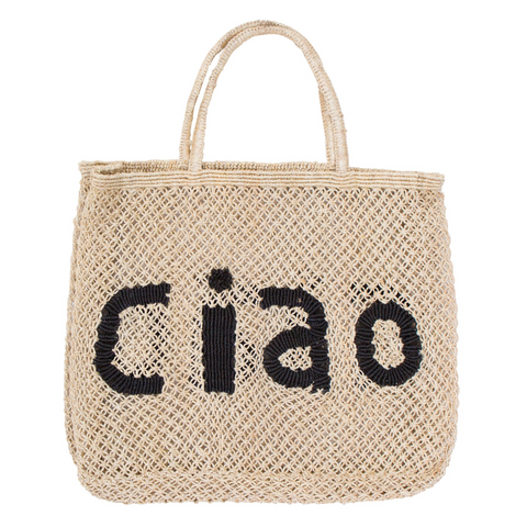 The Jacksons Ciao Jute Tote Bag - Large - Natural with Black