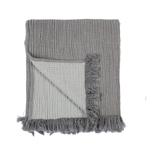 Textured Large Cotton Throw - Charcoal Grey