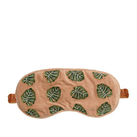 Elizabeth Scarlett Jungle Leaf Velvet Eye Mask - Copper
