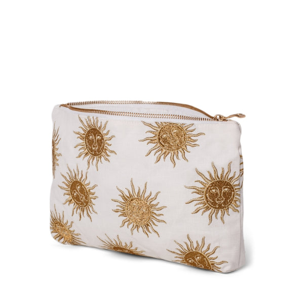 Side view of Elizabeth Scarlett White Sun Goddess Everyday Pouch - a white cotton pouch embroidered with a gold sun design. Finished with a gold zip.