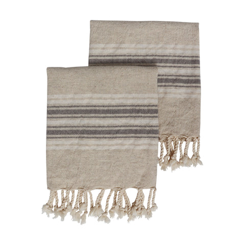 Set of two Dune kitchen or hand sized Turkish towels in a woven linen and cotton mix. Natural base colour with a pebble grey and white stripe across both ends, finished with hand tied tassels.