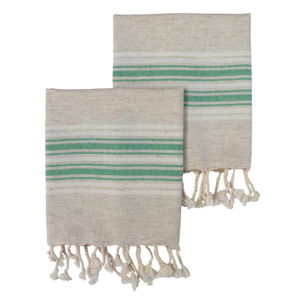 Dune Set of two Linen cotton mix Hand or kitchen Towels - main colour is a light natural beige with white and jade green stripes at each end. Finished with hand knotted tassels at each end.