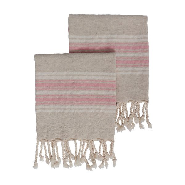 Set of two Dune kitchen or hand sized Turkish towels in a woven linen and cotton mix. Natural base colour with a pink and white stripe across both ends, finished with hand tied tassels.