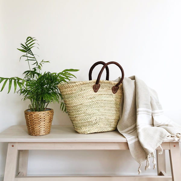 Palm Leaf Moroccan Straw Basket Bag